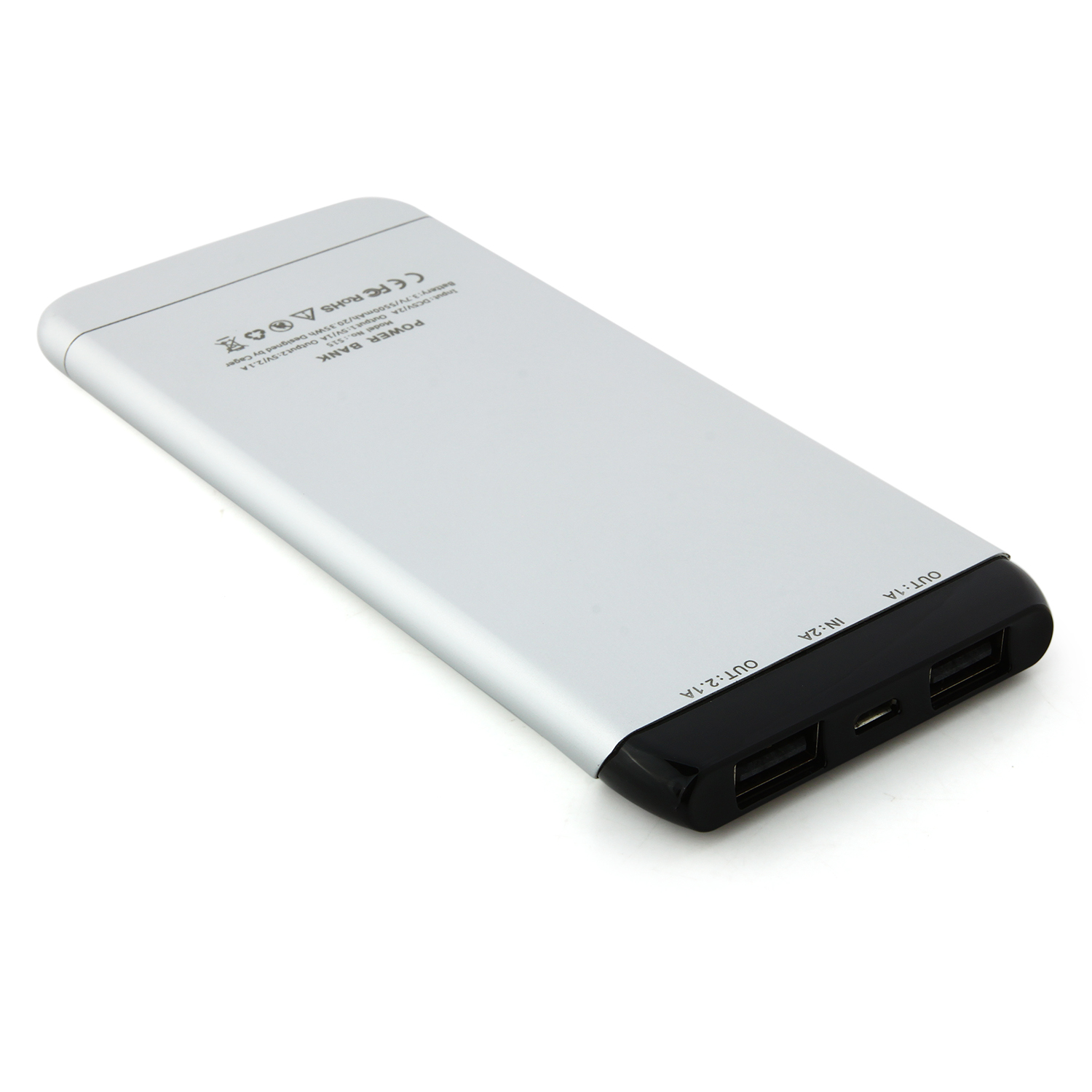 Cager S15 5500mAh Ultrathin Double USB Power Bank for Smartphones Tablet PC White