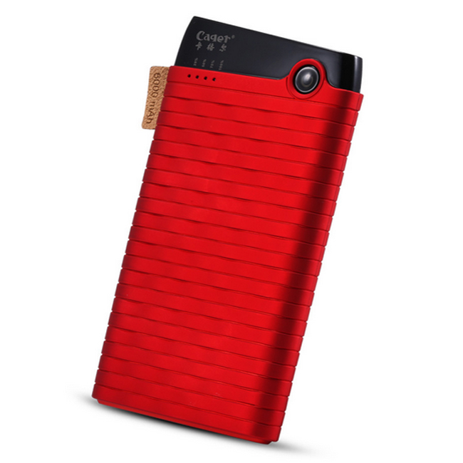 Cager B089 6000mAh Ultra Slim USB Power Bank for Smartphones Tablet PC Red