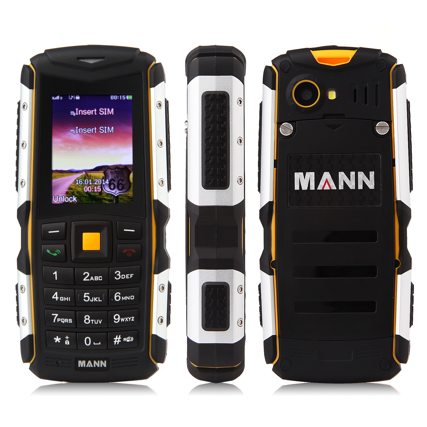 MANN ZUG S Value Phone 2.0 Inch IP67 Dual SIM Card Bluetooth FM Camera Black & Yellow