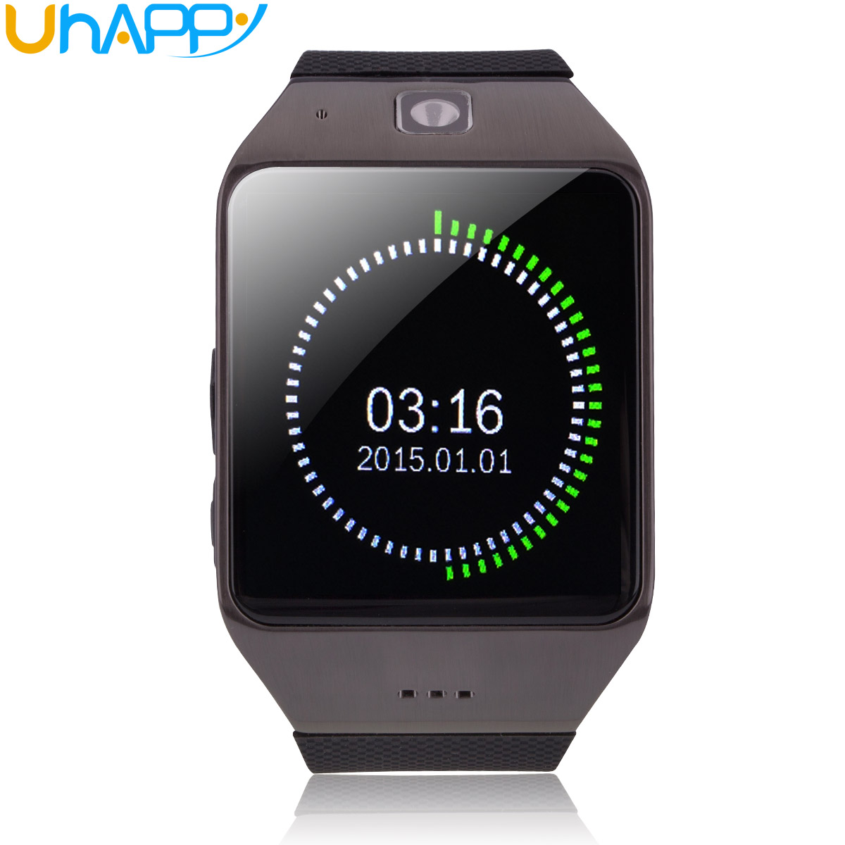 Uhappy UW1 GSM Smart Watch Camera Bluetooth NFC TF Card Wristwatch Black
