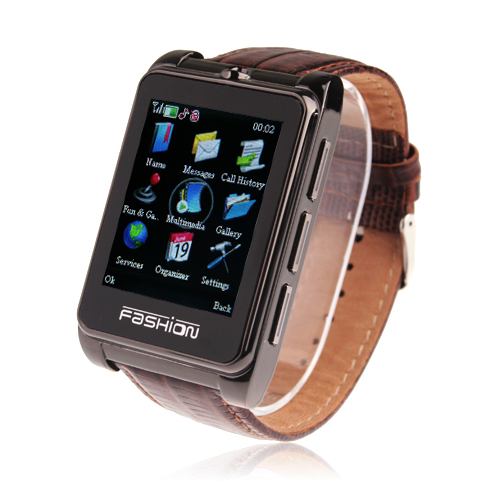S9110 Quad Band Watch Phone 1.8 Inch Touch Screen Bluetooth Camera with Bluetooth Earphone - Brown
