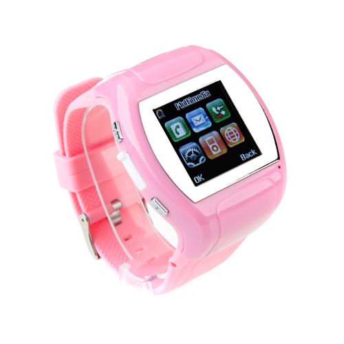 MQ007 Watch Phone Quad Band 1.5 Inch Touch Screen Camera Bluetooth FM Cellphone with Bluetooth Earphone - Pink