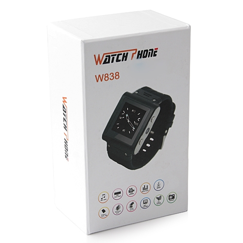 W838 Watch Phone Quad Band Single SIM Card Java Camera Bluetooth FM 1.4 Inch Touch Screen 2GB
