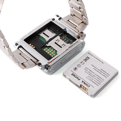 AK812 Watch Phone Stainless Steel Strap Single SIM Card Bluetooth SOS 1.6 Inch Touch Screen-Silver