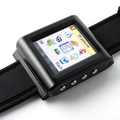 AK912 Watch Phone Silicon Strap Single SIM Card Pinhole Camera FM Bluetooth 1.6 Inch Touch Screen- Black