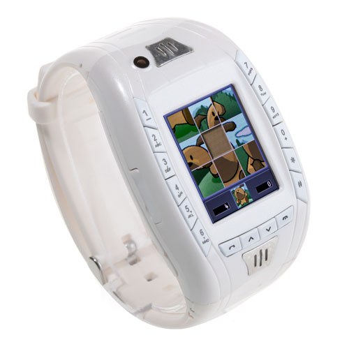 AK11 Watch Phone Single SIM Card Camera FM Bluetooth Ebook 1.2 Inch Touch Screen- White