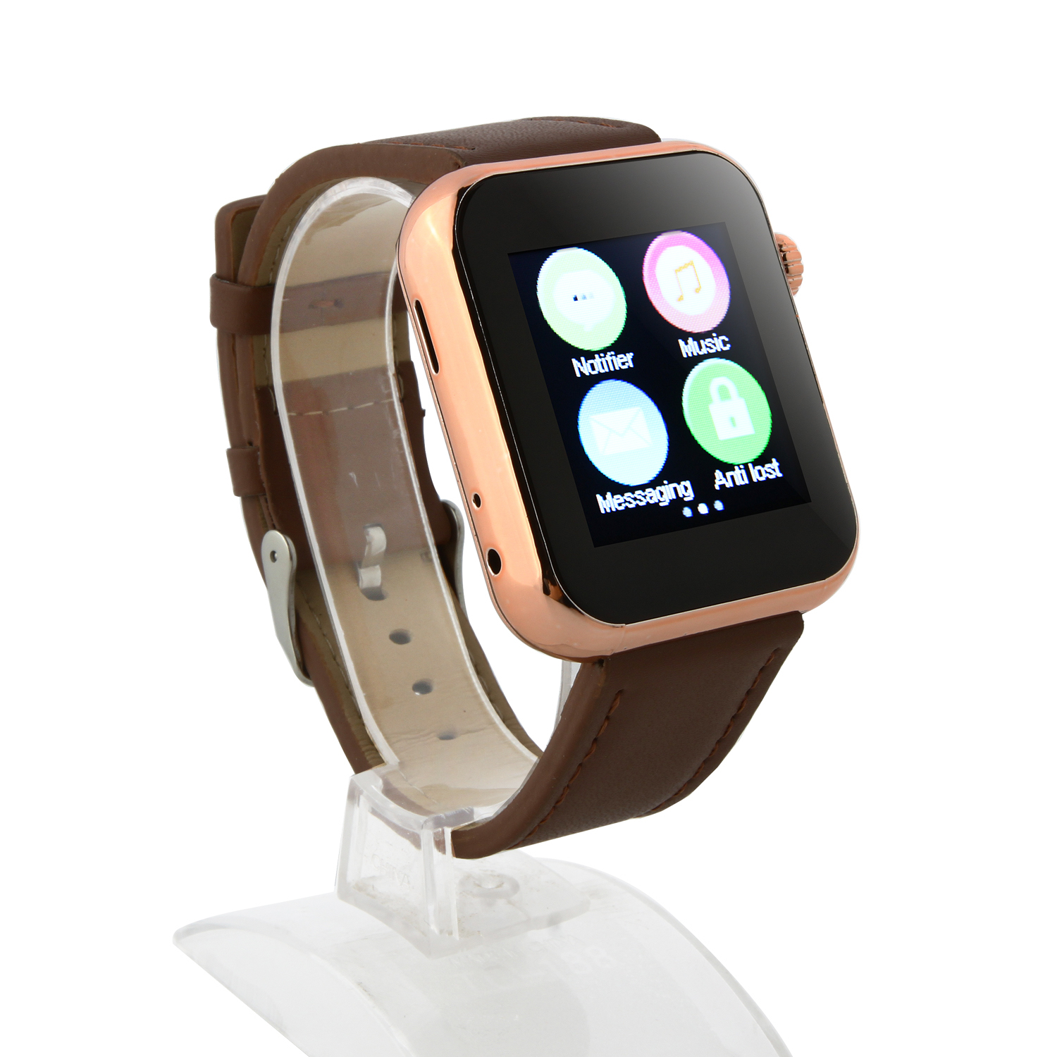 Atongm AW08 Bluetooth Watch Smart Watch with Call MMS Pedometer Anti-lost Brown