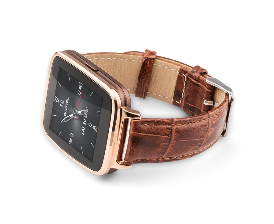 OUKITEL A28 Smart Bluetooth Watch 1.54 Inch IPS Heart Rate IP53 for iOS Android- Golden