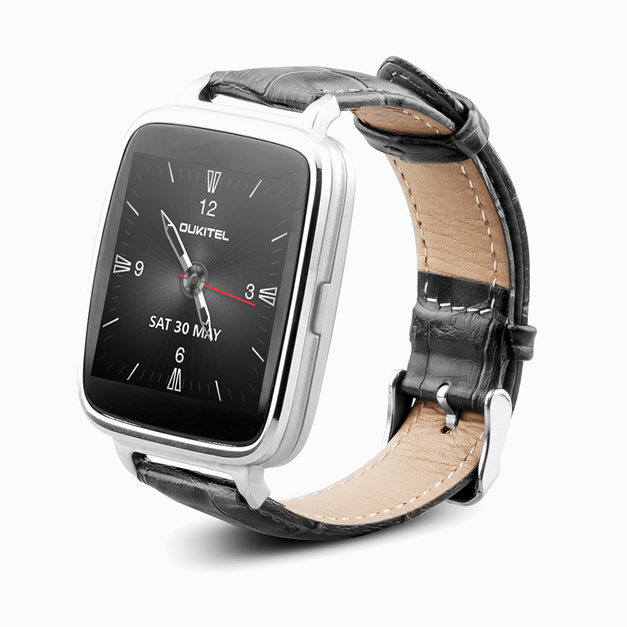 OUKITEL A28 Smart Bluetooth Watch 1.54 Inch IPS Heart Rate IP53 for iOS Android- Silver