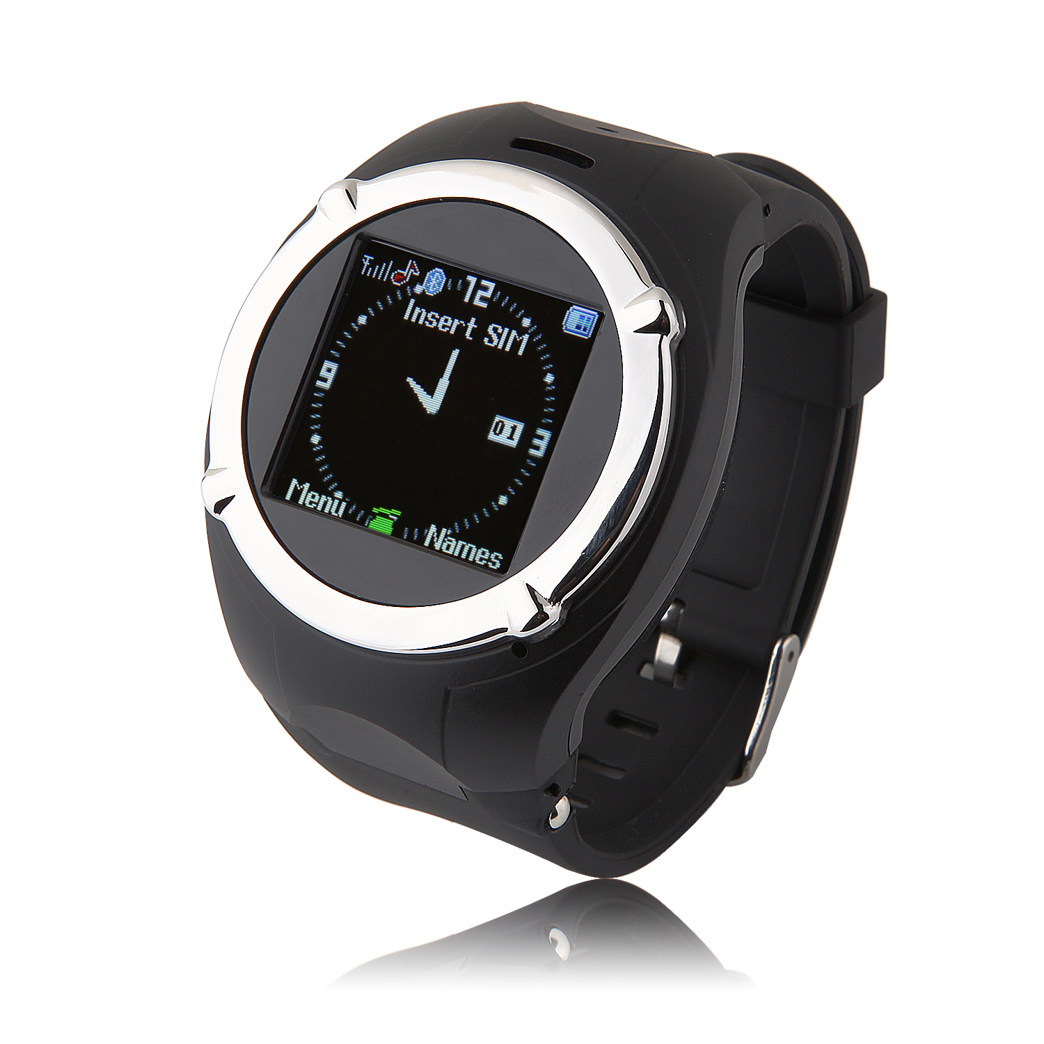 ZGPAX MQ998 Watch Phone Quad Band Single SIM Card 1.5 Inch Bluetooth FM Camera Black