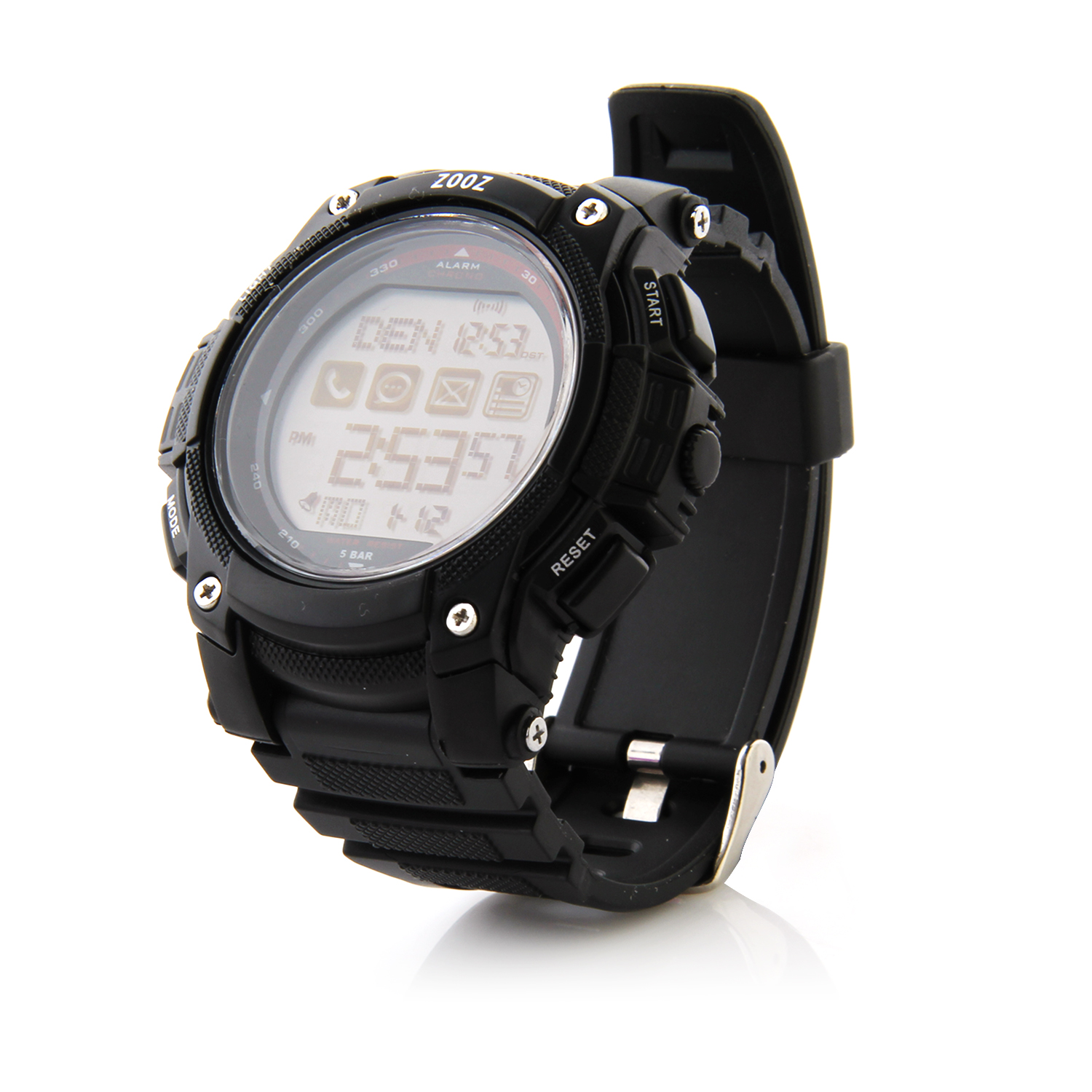 ZOOZ J1 IP68 Bluetooth Watch with Call SMS Sync Function for Android iOS Phone Black