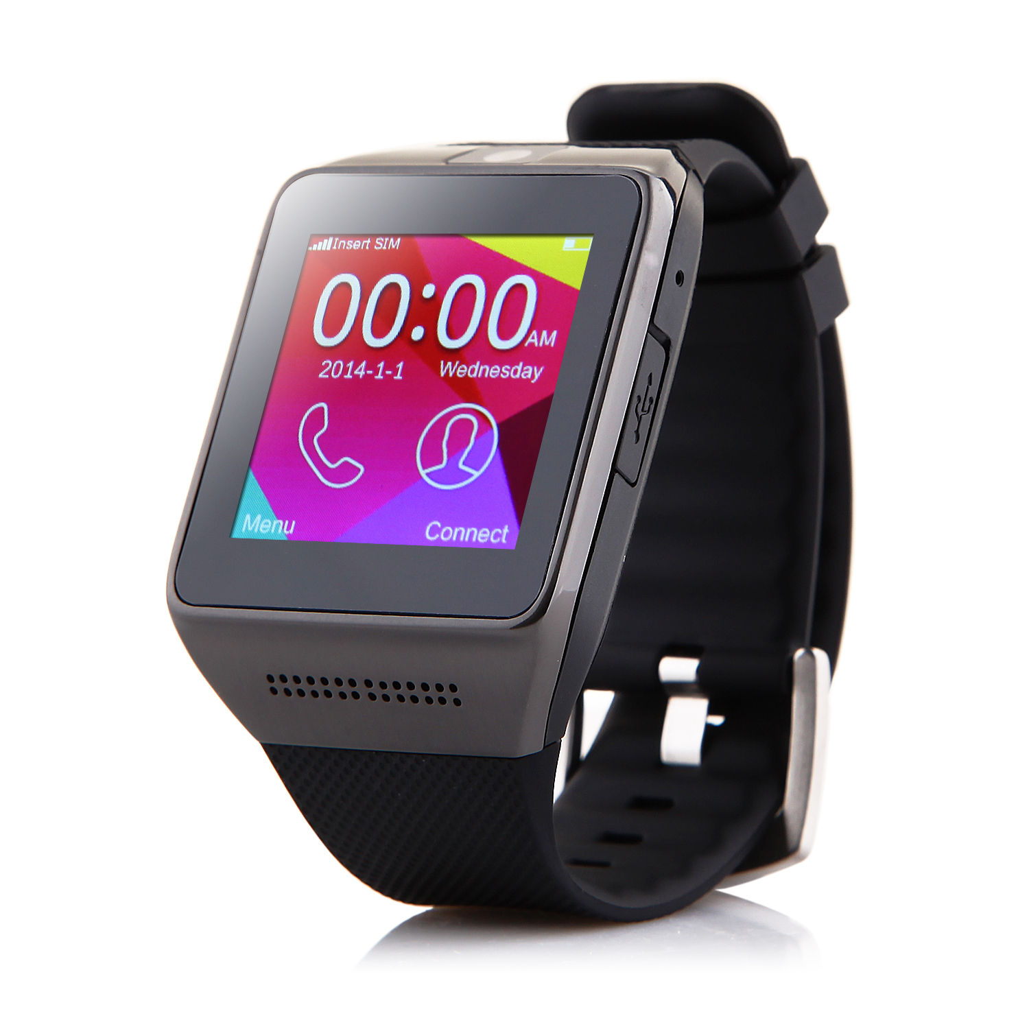 Atongm W008 Smart Watch Phone Bluetooth Watch 1.54 Inch Pedometer Anti-lost Black