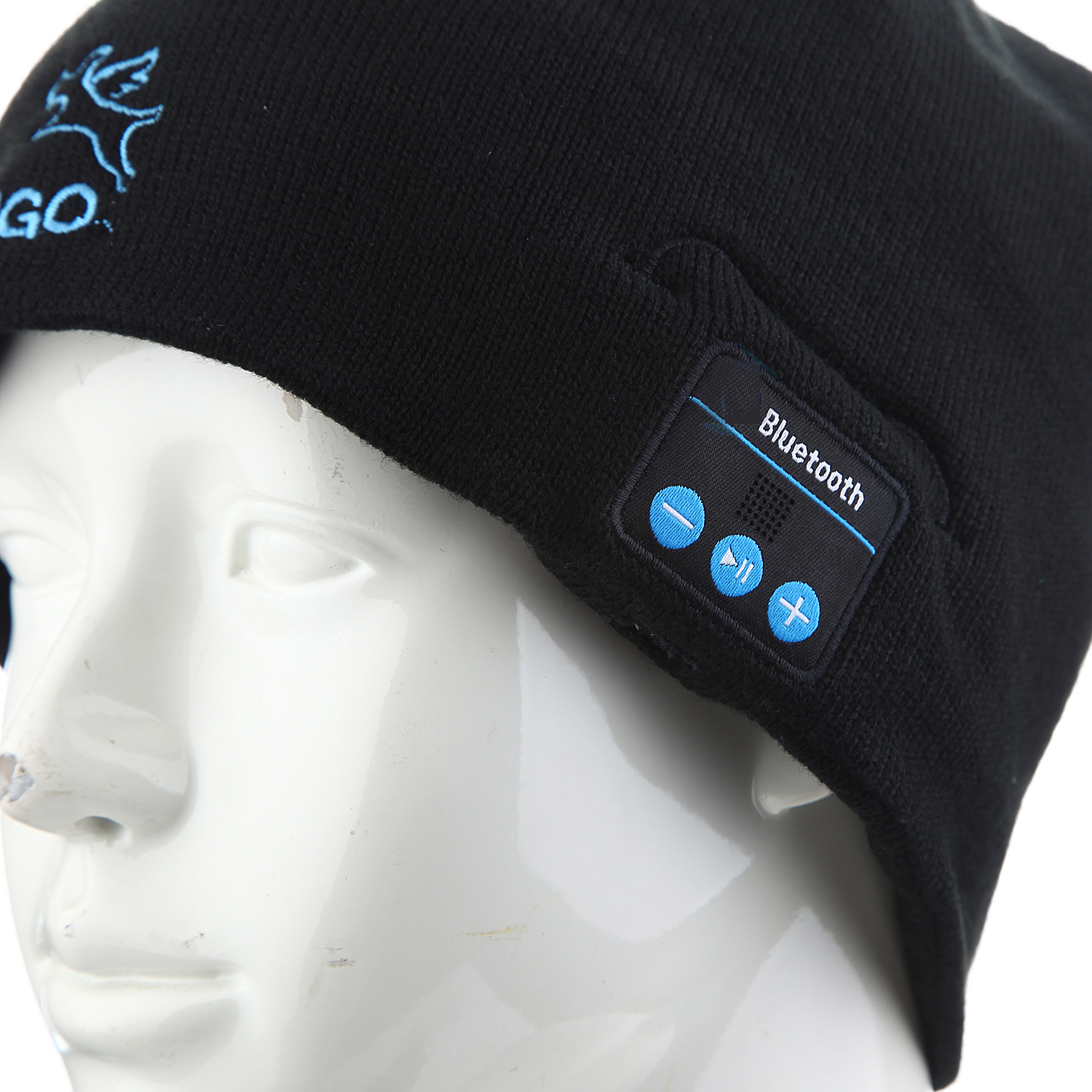 FINGO Warm Beanie Hat Wireless Bluetooth Smart Cap Headphone Speaker with Mic Black