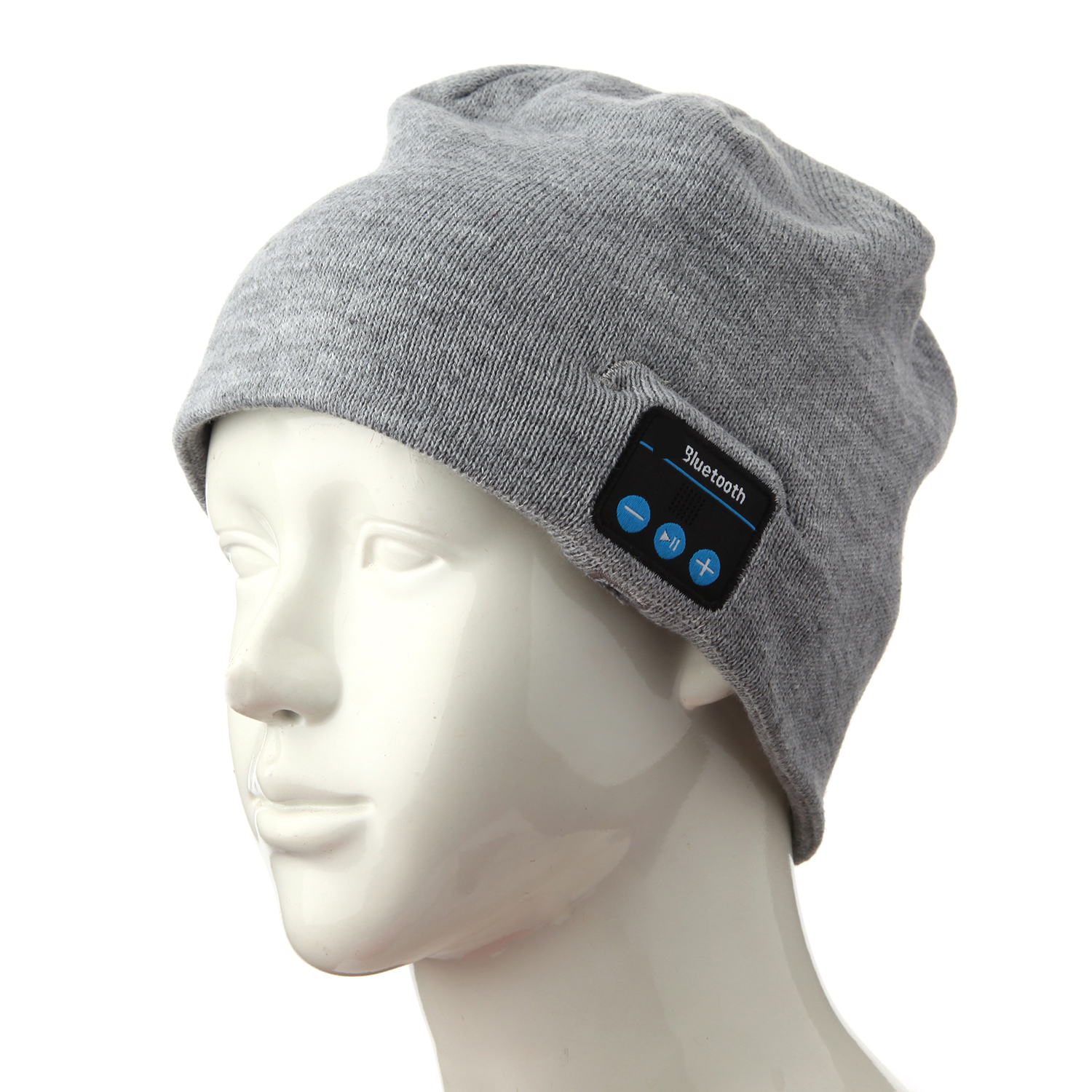 FINGO Warm Beanie Hat Wireless Bluetooth Smart Cap Headphone Speaker with Mic Grey