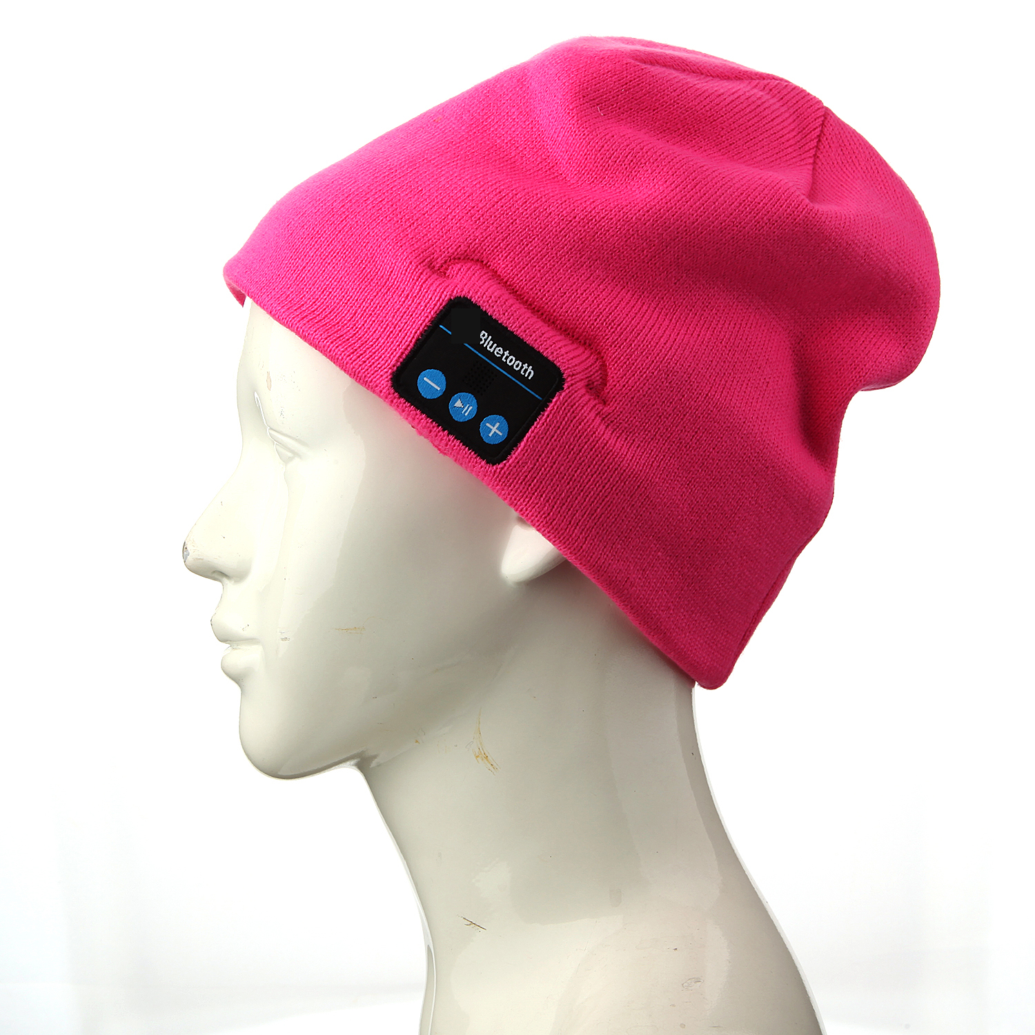 FINGO Warm Beanie Hat Wireless Bluetooth Smart Cap Headphone Speaker with Mic Rose