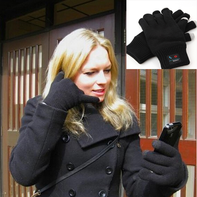 Fashion Warm Winter Bluetooth Talking Touch Screen Magic Gloves with Microphone Black