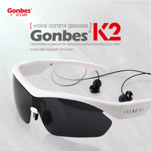 Gonbes K2 Voice Control Wireless Bluetooth Stereo Headset Smart Glasses Sunglasses