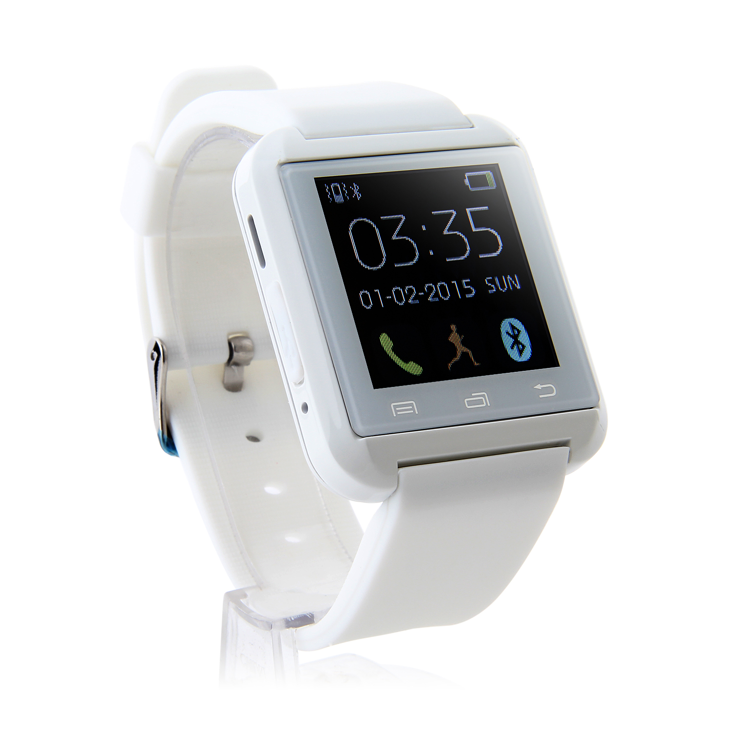 "U Watch U8 Smart Bluetooth Watch 1.44"" Screen for Android Smartphones White"