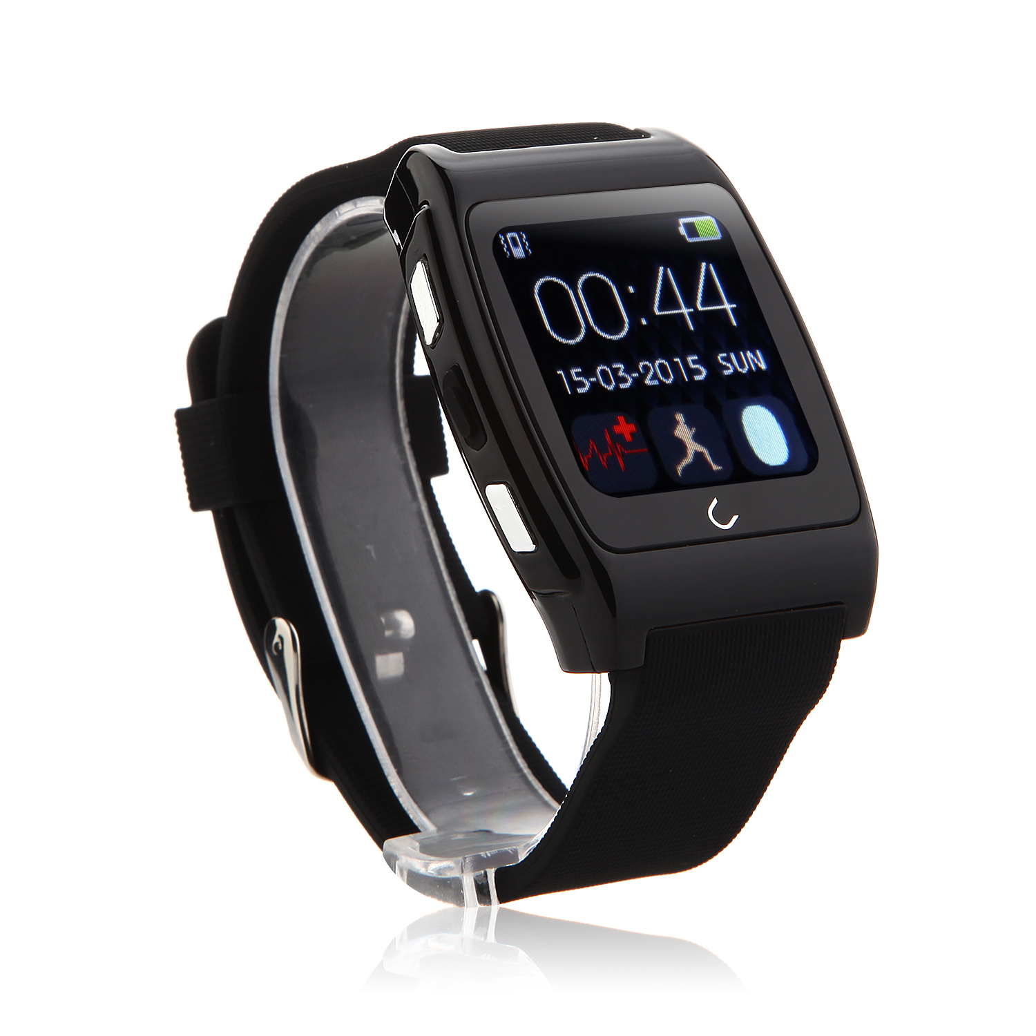 U Watch UX Bluetooth Watch Heart Rate Monitor for iOS And Android Smartphones Black