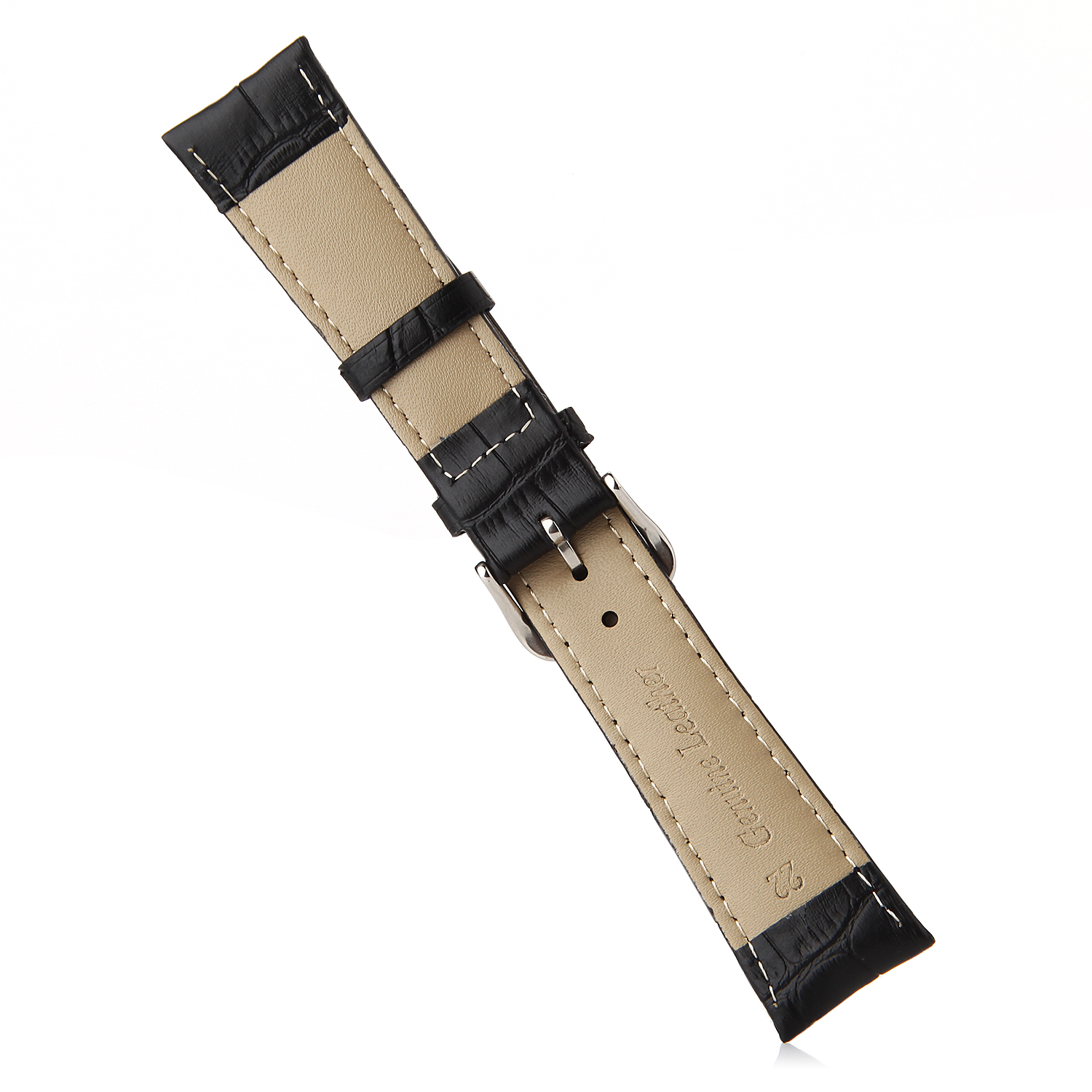 Crocodile Split Leather Buckle Watch Bands Straps For Apple Watch 38mm&42mm Black