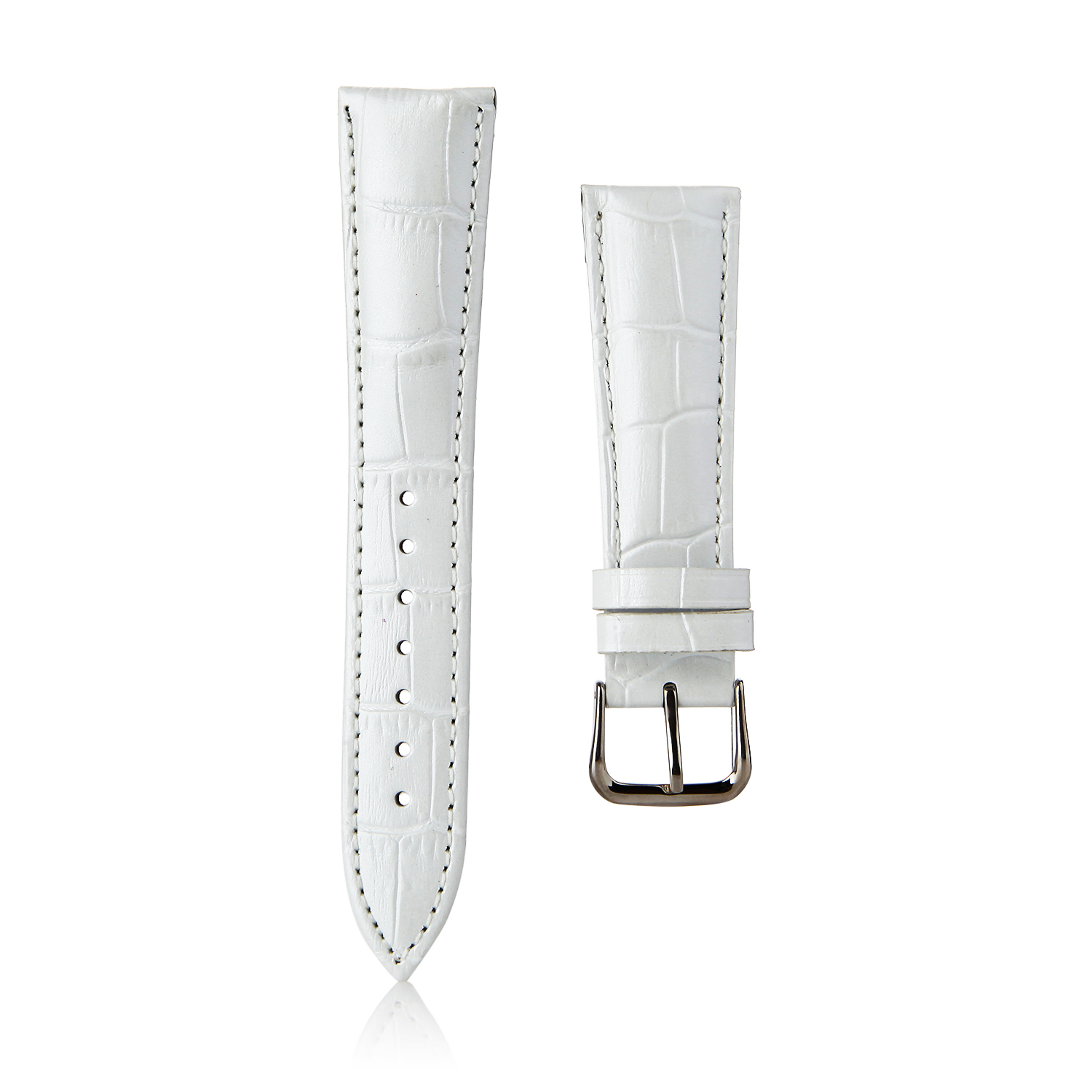 Crocodile Split Leather Buckle Watch Bands Straps For Apple Watch 38mm&42mm White