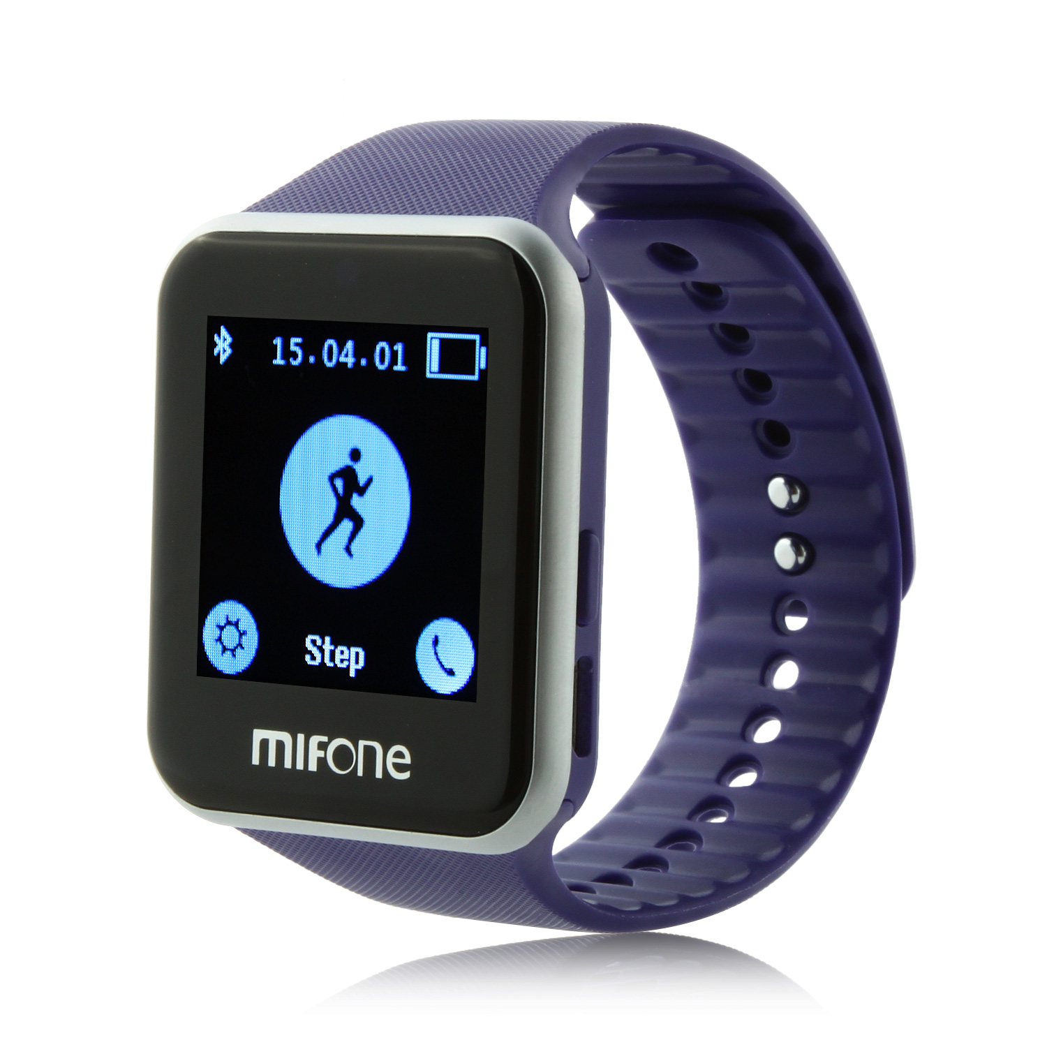 "MIFone W15 2.5D Sapphire Glass Smart Bluetooth Watch 1.5""Screen TPSiV Safe Strap Purple"