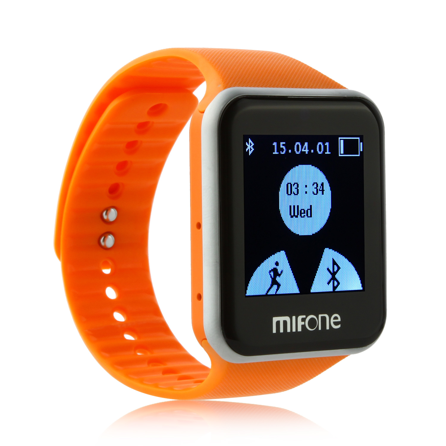 "MIFone W15 2.5D Sapphire Glass Smart Bluetooth Watch 1.5""Screen TPSiV Safe Strap Orange"