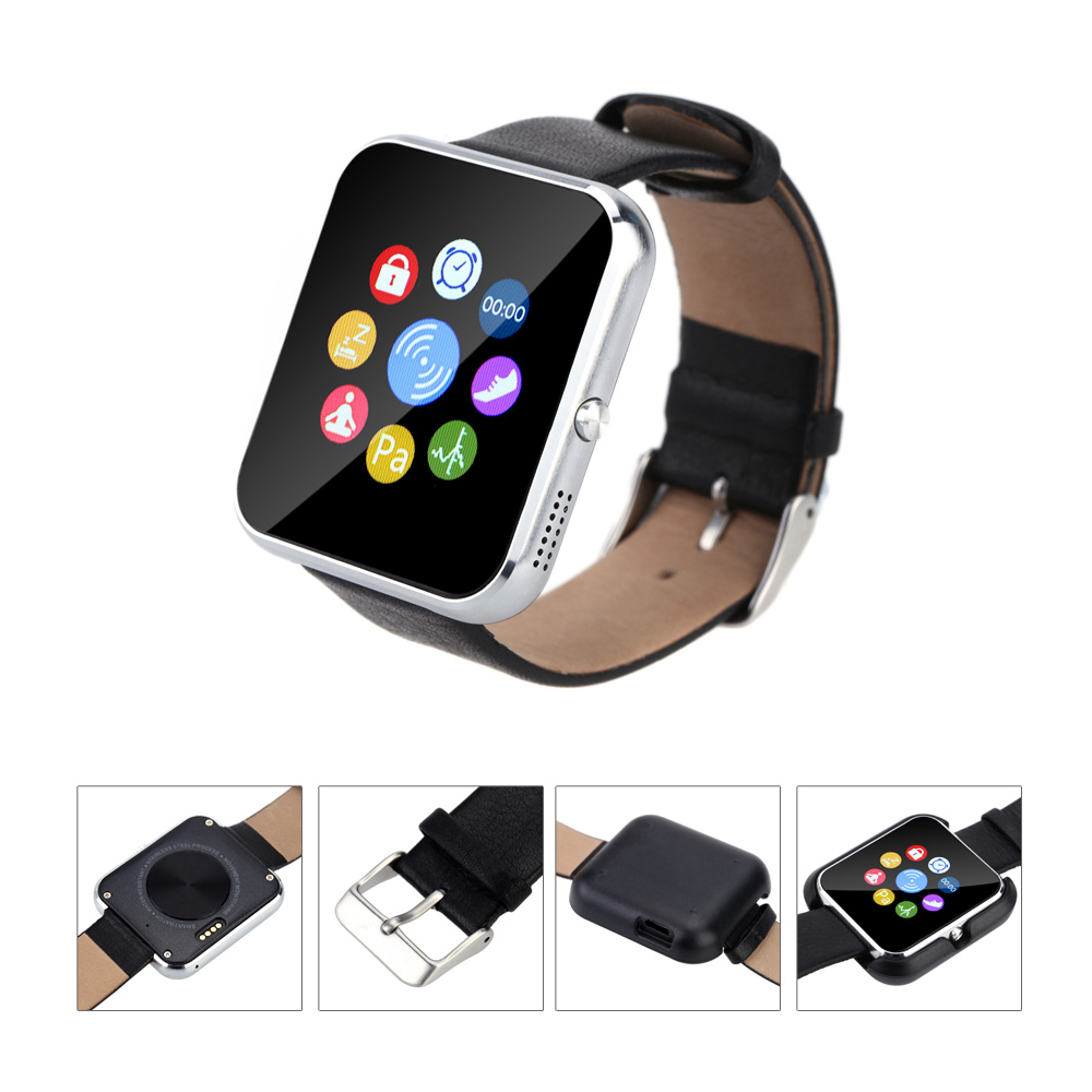 Zeblaze Rover Smart Watch Toughened OGS Panel MTK2501 BT Premium Leather Strap Silver