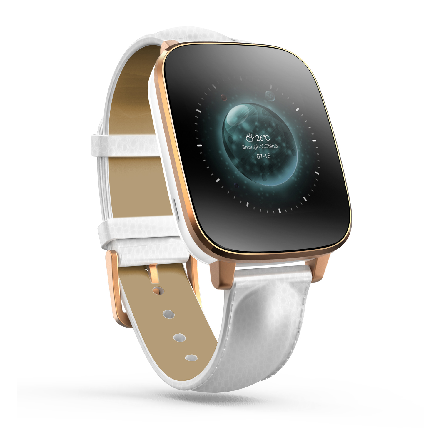 Zeblaze Crystal Smart Watch MTK2502 BT4.0 IP65 128M/64M Premium Leather Strap Gold