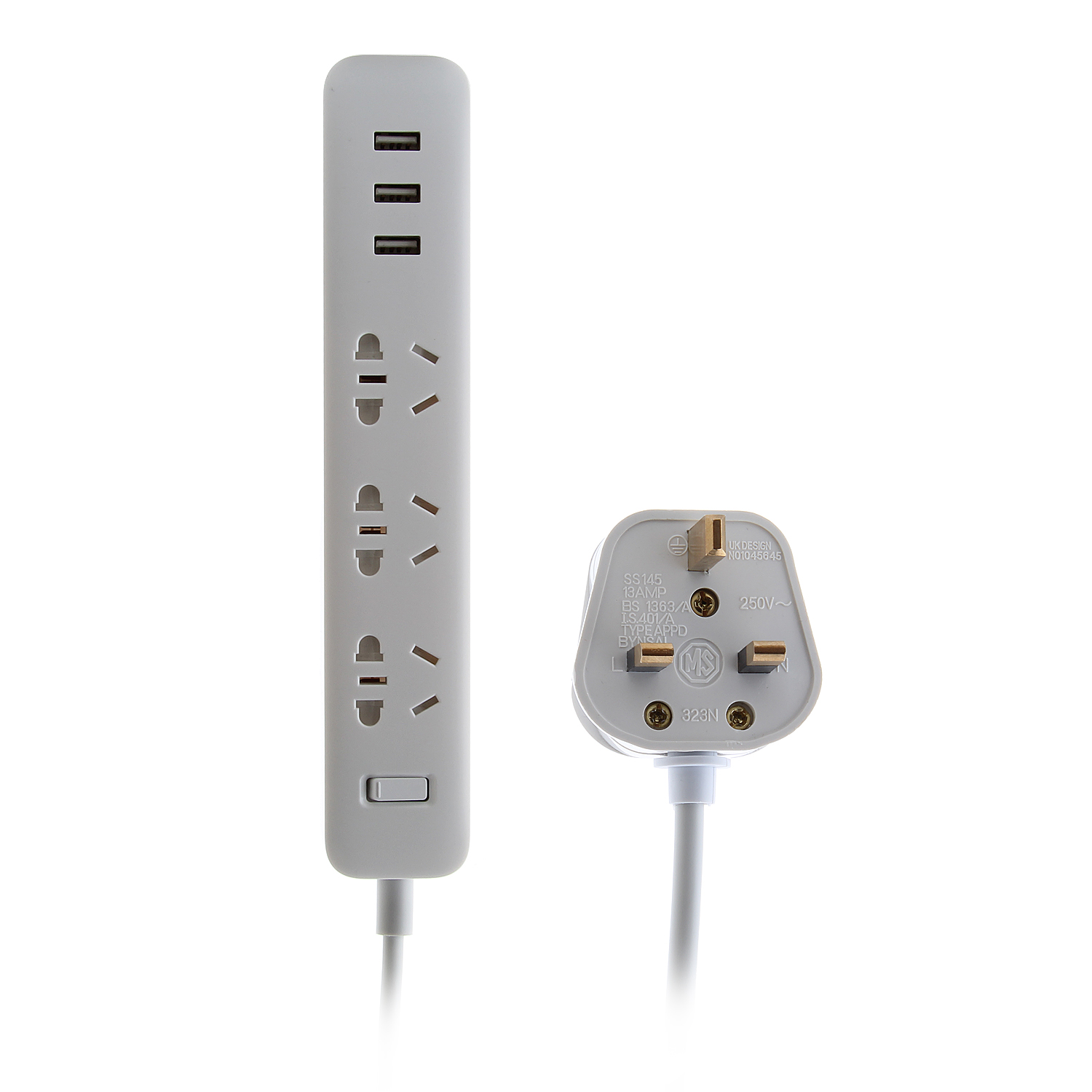 UK Plug XIAOMI Power Strip Outlet Socket Plug 3 USB Charging Port 5V 2.1A