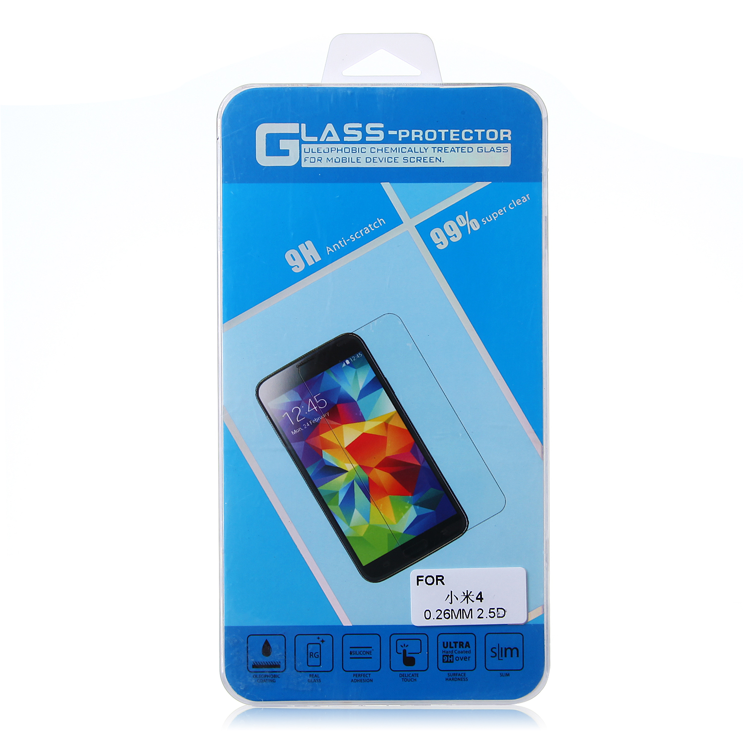 0.26MM Thickness 2.5D Tempered Glass Screen Protector Film for XIAOMI MI4 Smartphone
