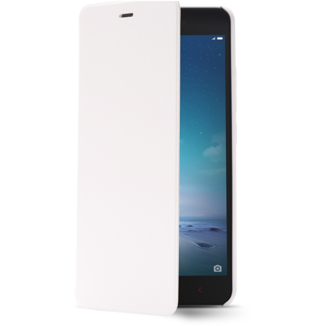 Original Flip Leather Cover Case for XIAOMI Redmi Note 2 Smartphone White