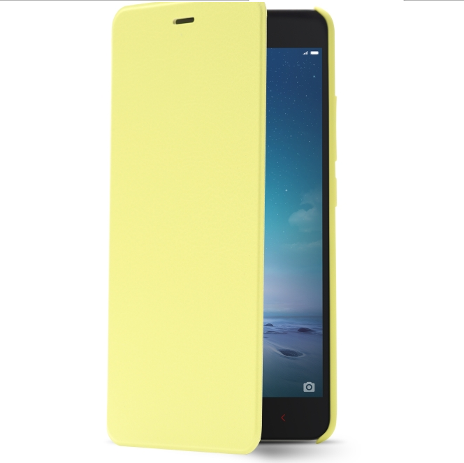 Original Flip Leather Cover Case for XIAOMI Redmi Note 2 Smartphone Yellow