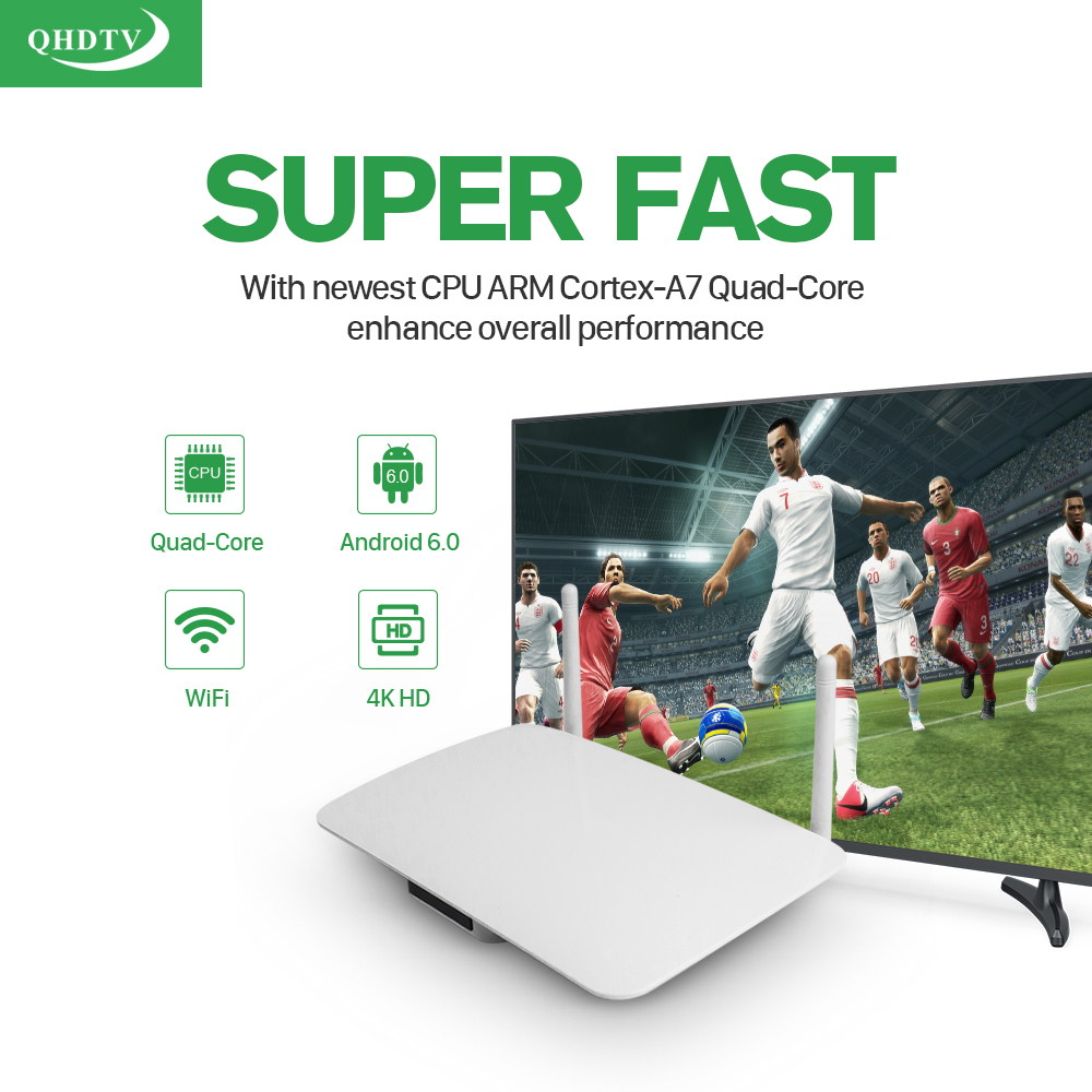 LeadCool Q1404 Android TV Box With Qhdtv Subscription 1300+ French Arabic IT/UK/DE Channels RK3229 1GB/8GB 1080P Dual Wifi Supported