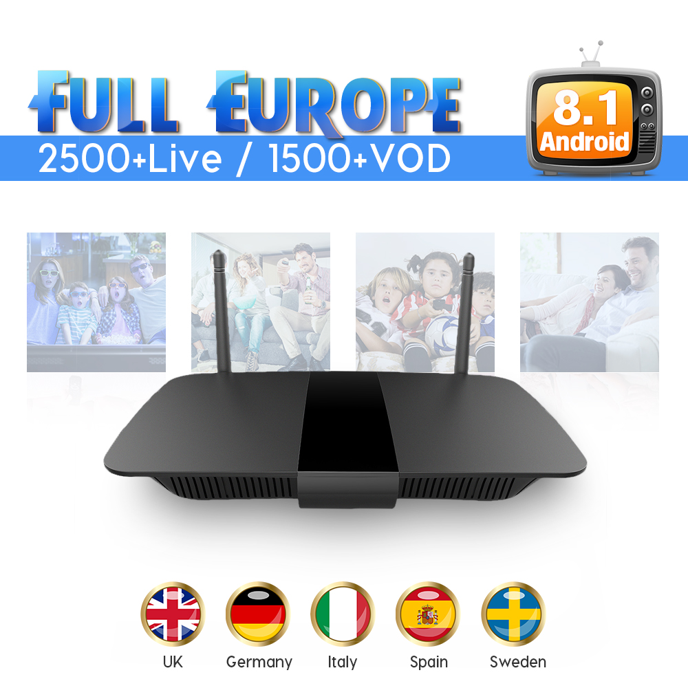 IPTV 1 Year Spain IUDTV Subscription Code Android 8.1 Smart TV Box IPTV Europe Sweden Italy Spain UK Greek Germany IPTV Box