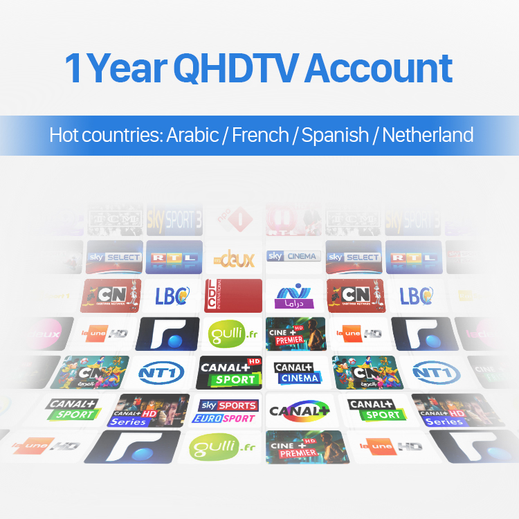 1 Year Qhdtv Subscription Best Arabic/Turkish/French/Spanish IPTV Channels Stable Italian Germany Packages