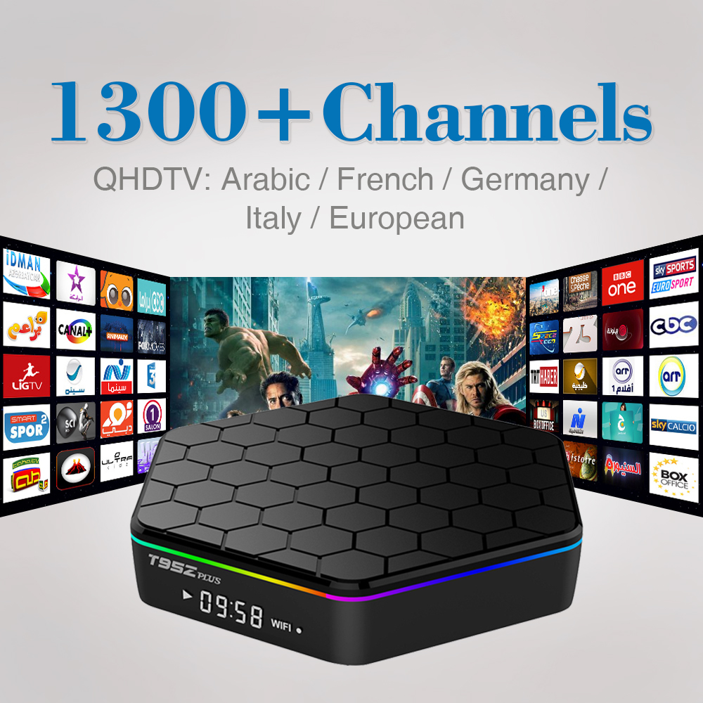 T95ZPlus Octa Core S912 Android 6.0 Arabisch & Franse IPTV Box 1300 + Android TV Box Sky IPTV Receiver QHDTV