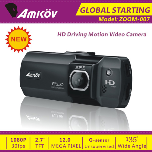 Amkov ZOOM-007 2.7 Inch Motion Detection Car DVR Digital Camcorder for Drivers -Black