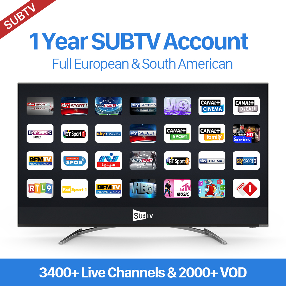 One Year Subtv 3400+ Full European Channels IT/UK/DE American Canada Brazil Packages VOD EPG APK M3U Mag Supported