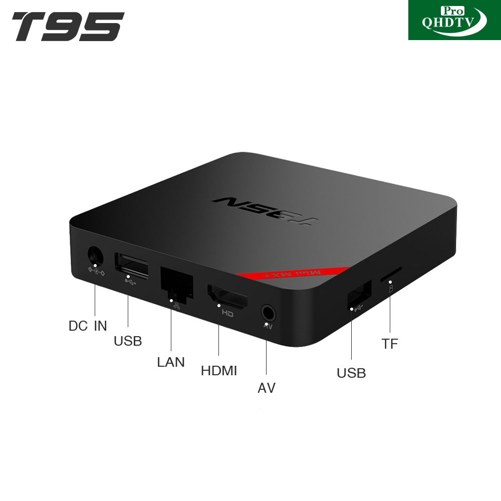 T95N Mini MX+ Android 6.0 TV Box With One Year QHDTVPRO Subscription 1500+ French Arabic IT/UK/DE Channels  S905X Quad Core Wifi Kodi 1G/8G Smart Set Top Box