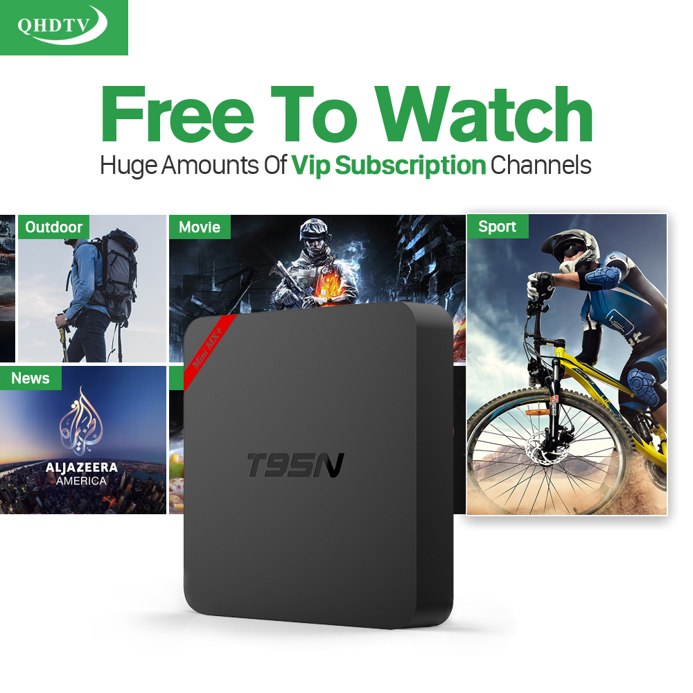 T95N Mini MX+ Android 6.0 TV Box With Qhdtv Subscription 1300+ French Arabic IT/UK/DE Channels   S905X Quad Core Wifi Kodi 1G/8G Smart Set Top Box