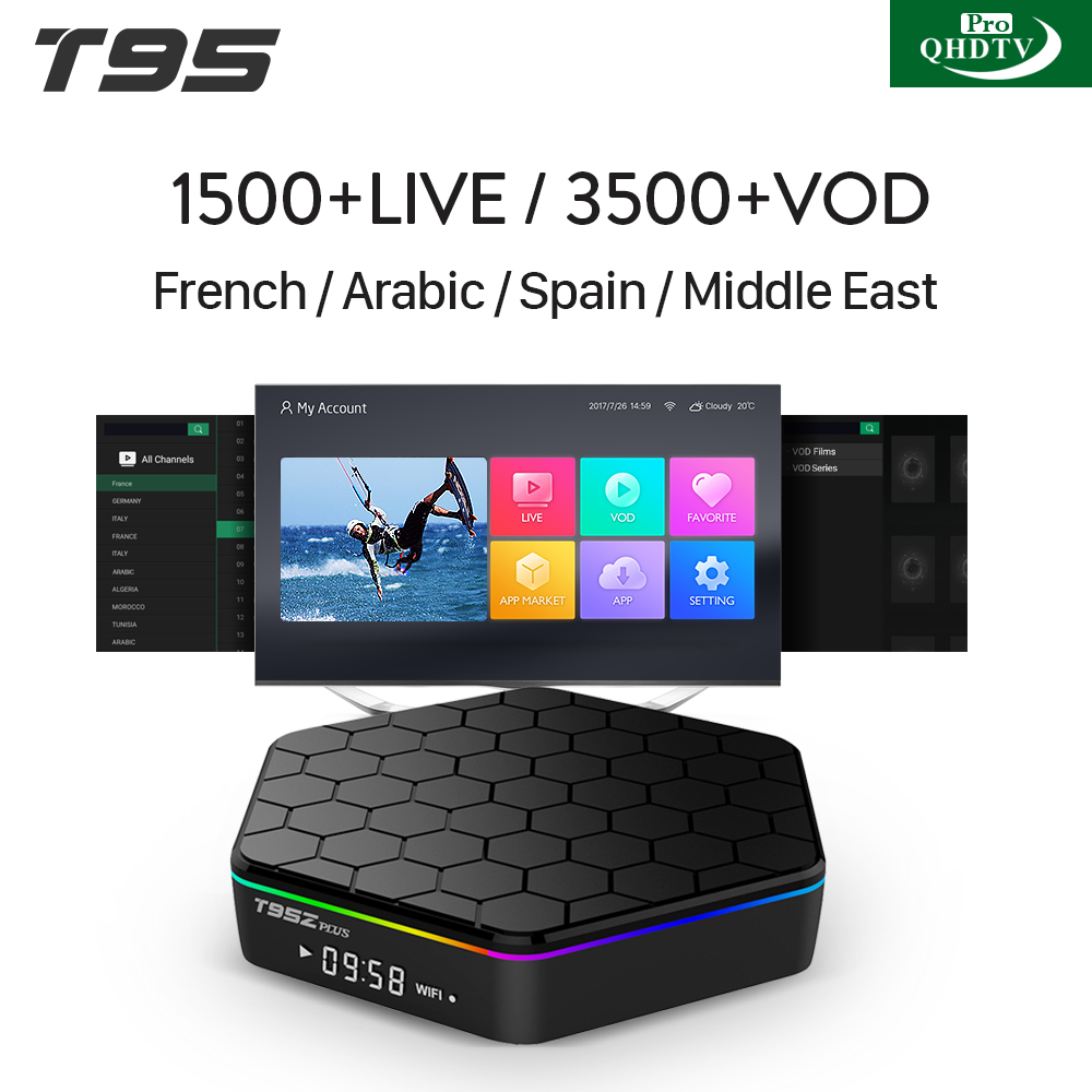 T95ZPLUS Octa Core Android IPTV BOX S912 2/16GB & 3+32GB Android TV WIFI H.265 Media Player With One Year 1500+ Live 120+ H265 QHDTVPRO Arabic French Channels