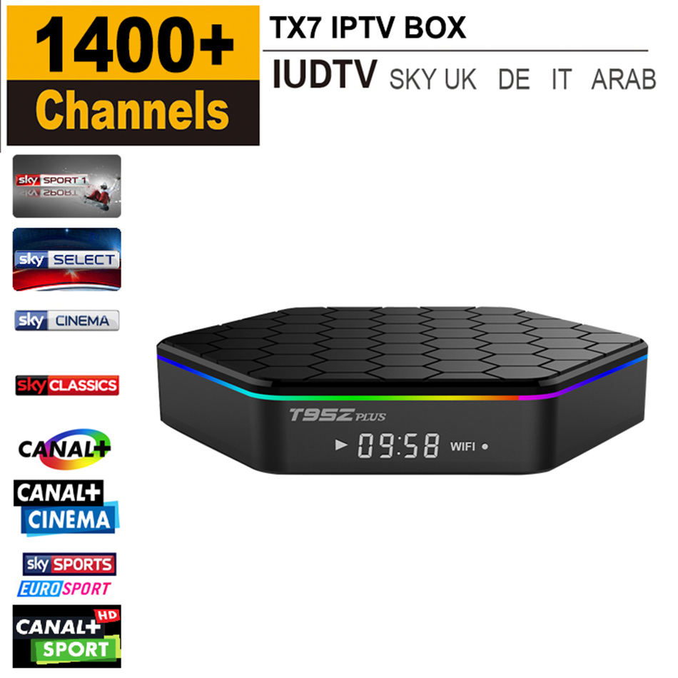 T95ZPLUS Octa Core Android IPTV BOX S912 2GB/16GB Android TV KODI WIFI H.265 Media Player With Iudtv Free 1400 Europe Channels