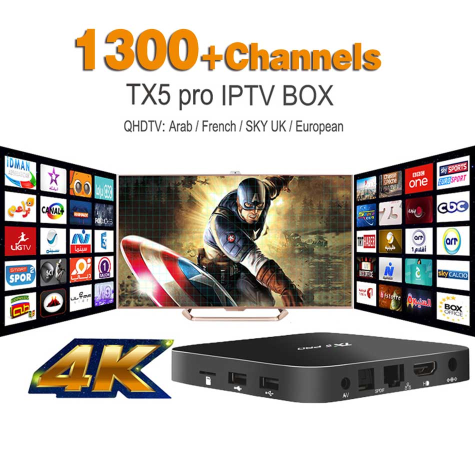 Europe Arabic French IPTV S905X TX5PRO Box Qhdtv 1300+ Channels included Android 6.0 TV Box Support Sport Canal Plus French Iptv Set Top Box