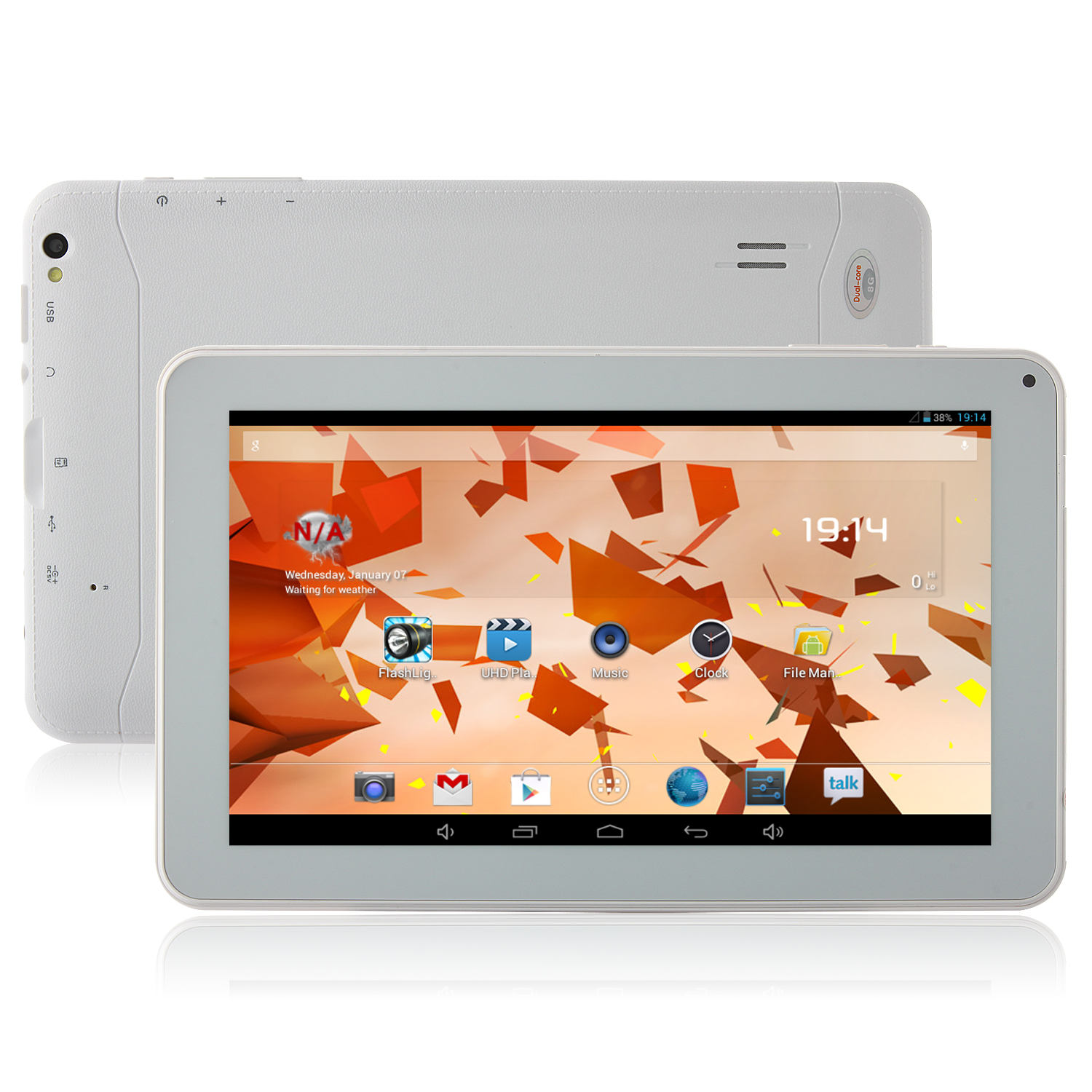 "Used GDIPPO GT91H Tablet PC All Winner A23 Dual Core 9.0"" Android 4.2 8GB White"