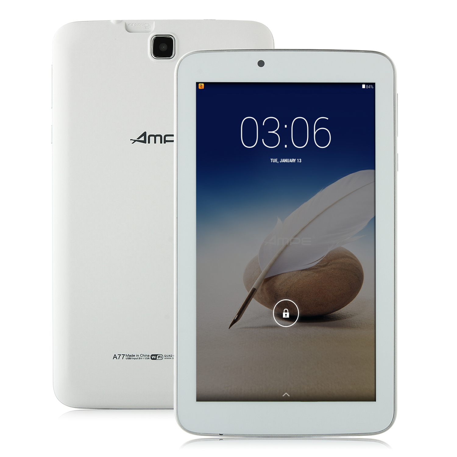Ampe A77 Quad Core Tablet PC Allwinner A33 7.0 Inch Android 4.4 8GB White