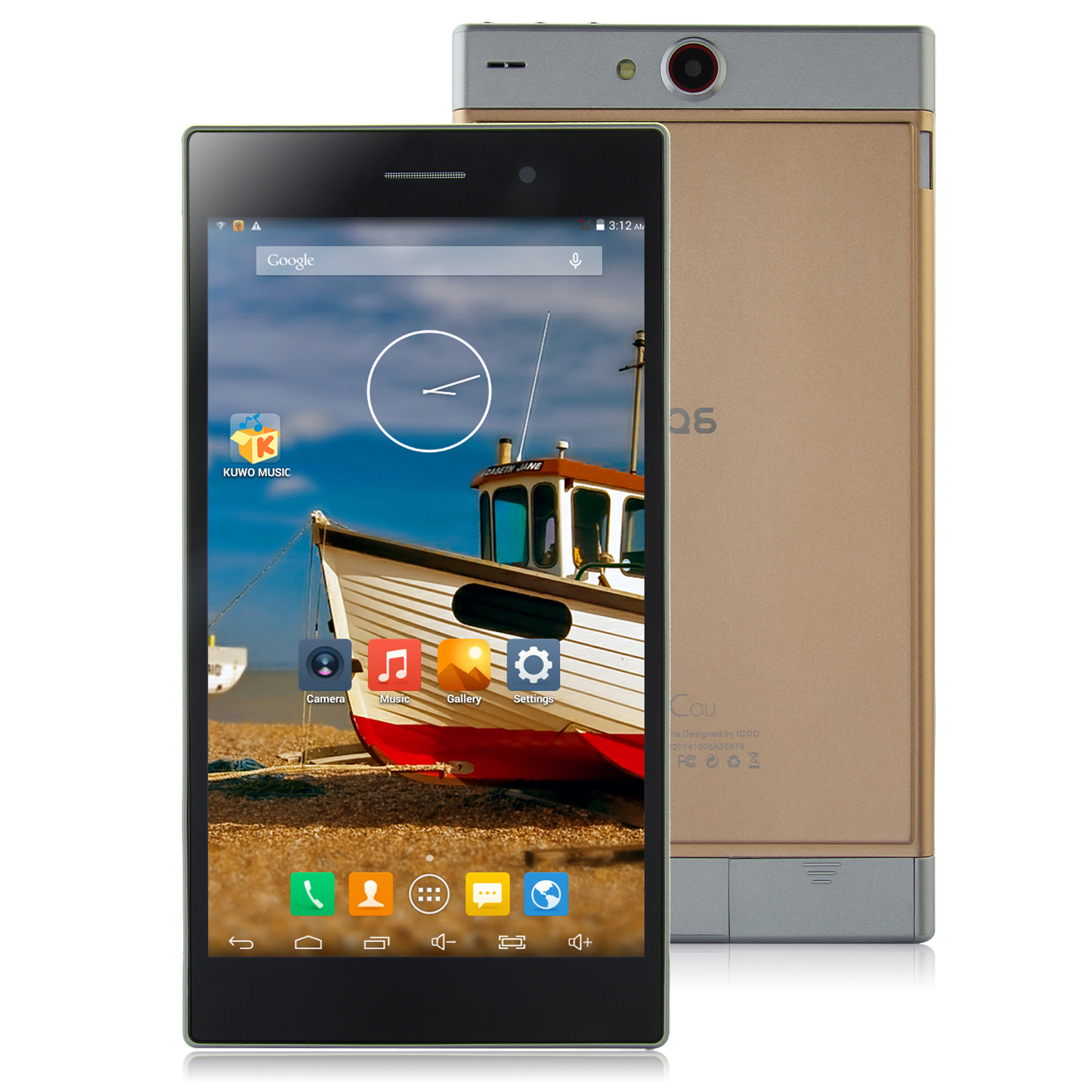 ICOO Q6 Tablet PC MTK8382 Quad Core 7.0 Inch Android 4.4 IPS Screen 1GB 8GB Golden