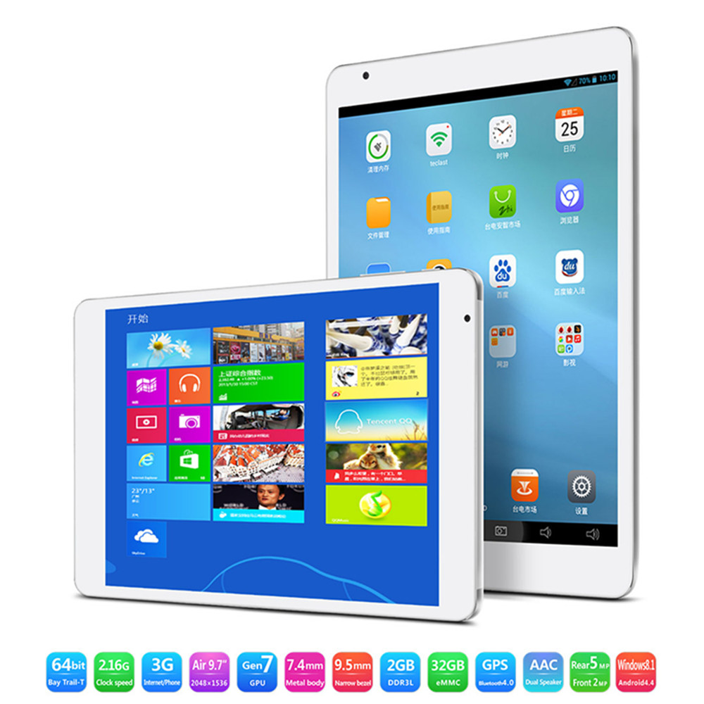"Teclast X98 Air 3G Tablet PC Dual Boot Intel Z3736F Quad Core 9.7"" Retina 2GB 32GB Grey"