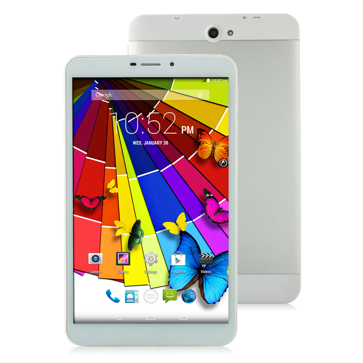 V801 3G Tablet PC MTK8382 Quad Core Android 4.4 8 Inch IPS HD 1GB 8GB White&Silver