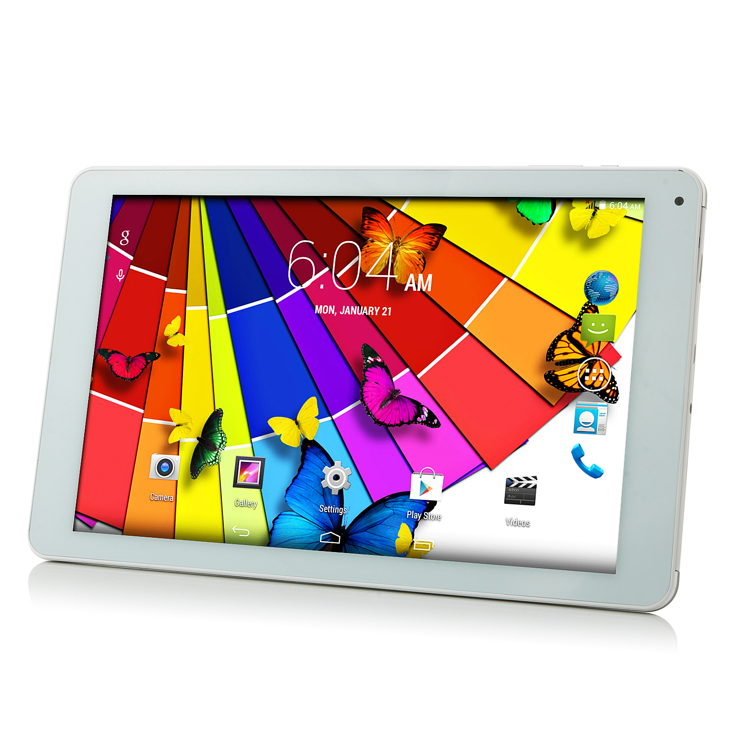 V108 3G Tablet PC MTK8382 Quad Core Android 4.4 10.1 Inch IPS HD 1GB 16GB White&Silver